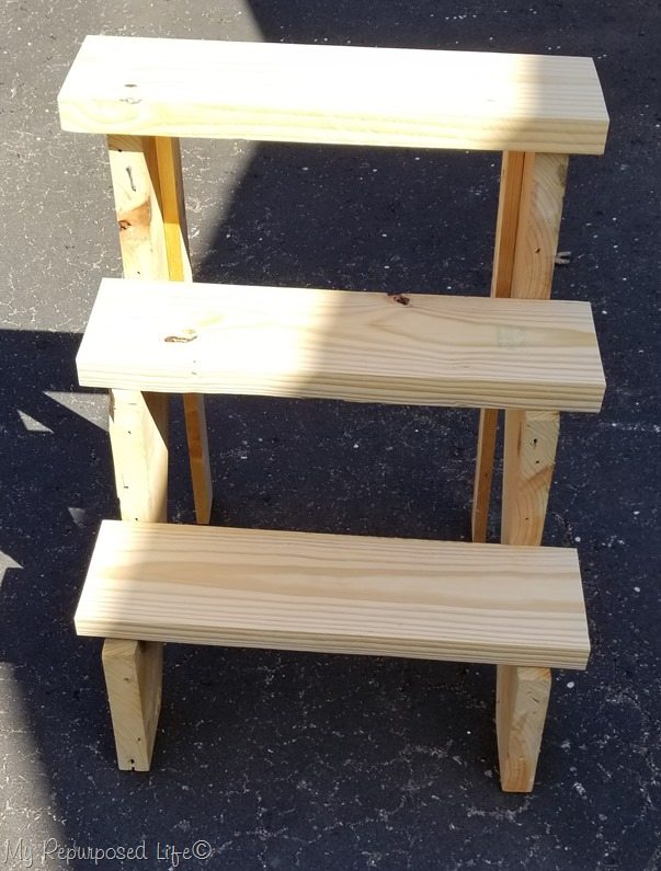 test fit of stair treads tiered plant stand