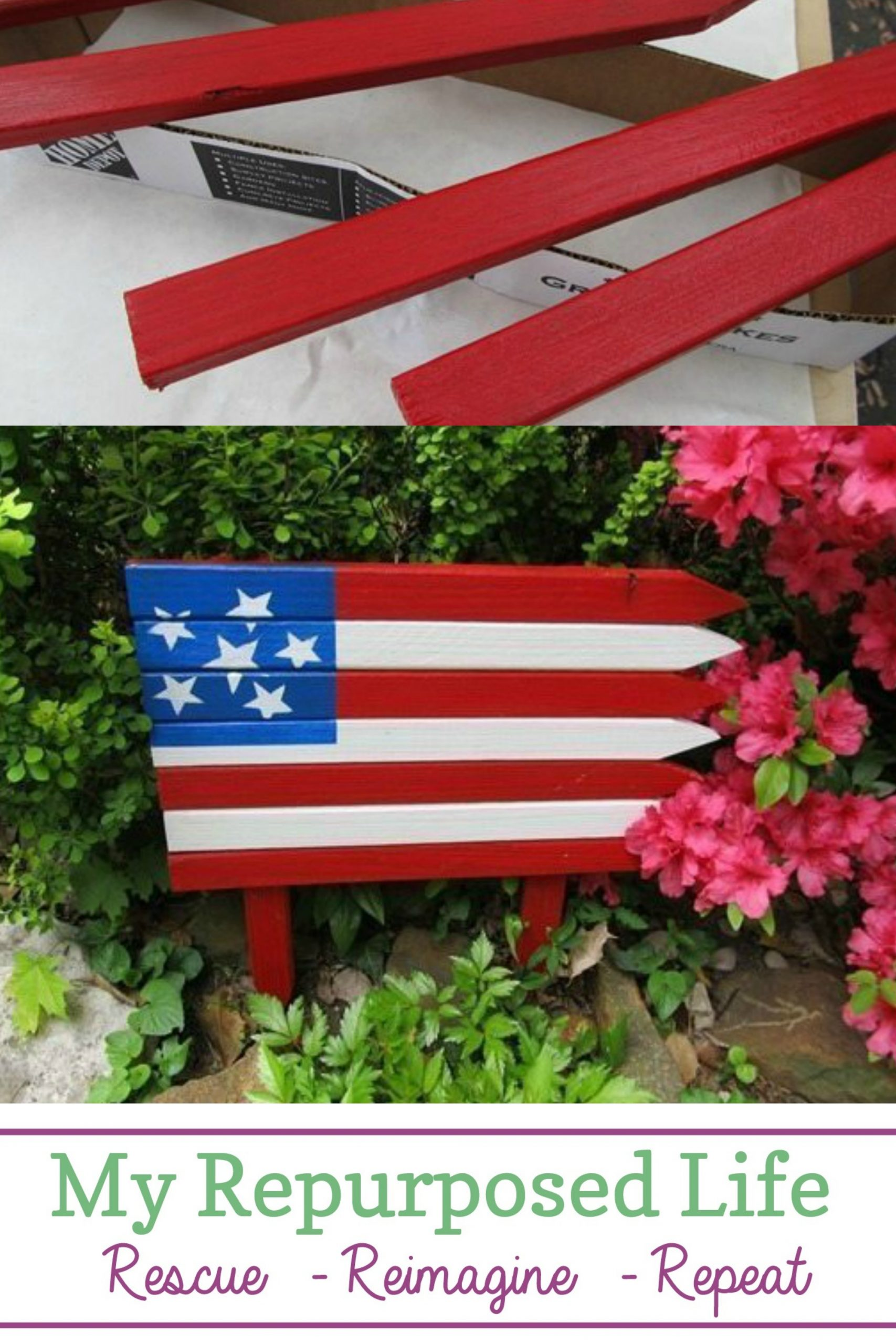 How to make an easy wooden Americana flag for your patio or flower garden. This flag is a quick and easy project using small garden stakes. Great afternoon project to make with the kids for a patriotic holiday celebration. #repurposed #MyRepurposedLife #4thofjuly #patriotic #flag #garden #decor via @repurposedlife