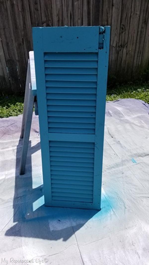 bright turquoise repurposed shutter