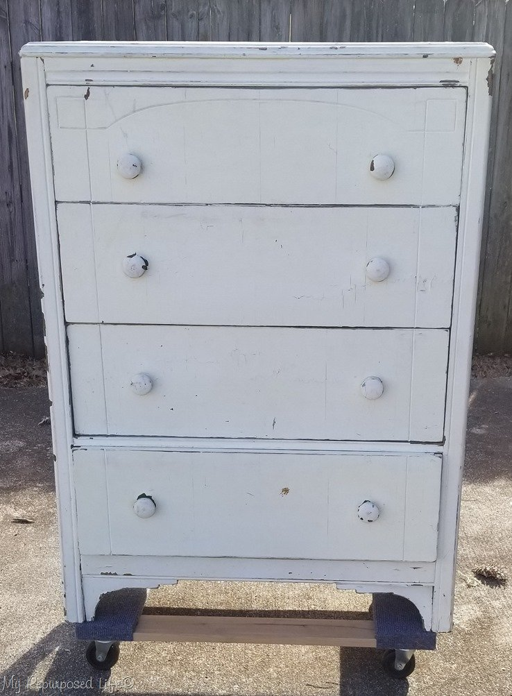 chippy white chest of drawers