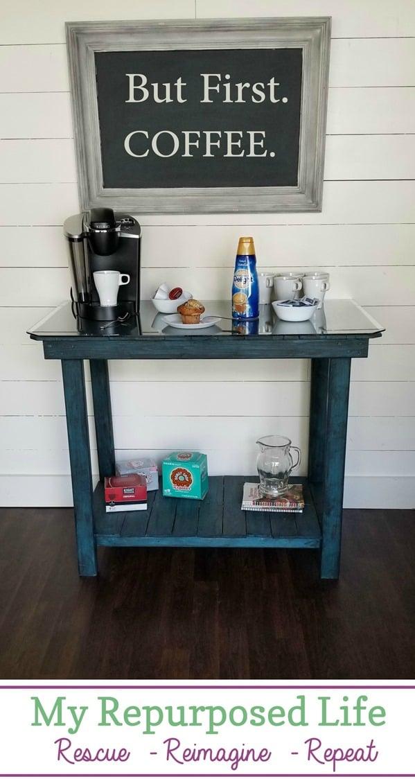 coffee bar pallet table #pallet #table #coffee #bar MyRepurposedLife.com