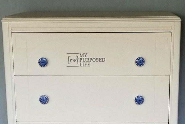 decoupaged blue knobs MyRepurposedLife.com