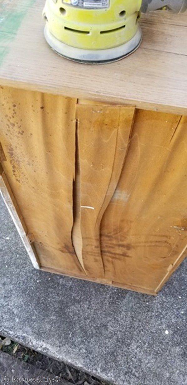 remove veneer from drawer bottom