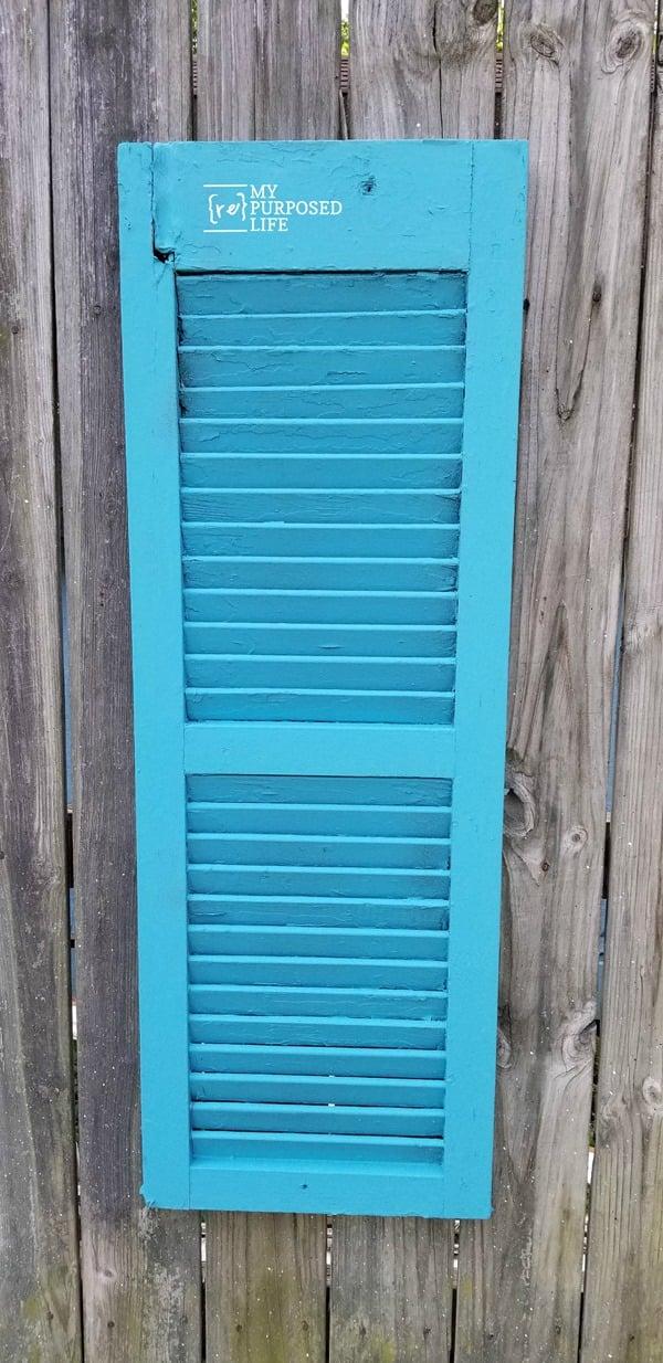 repurposed shutter vertical garden plant holder MyRepurposedLife.com