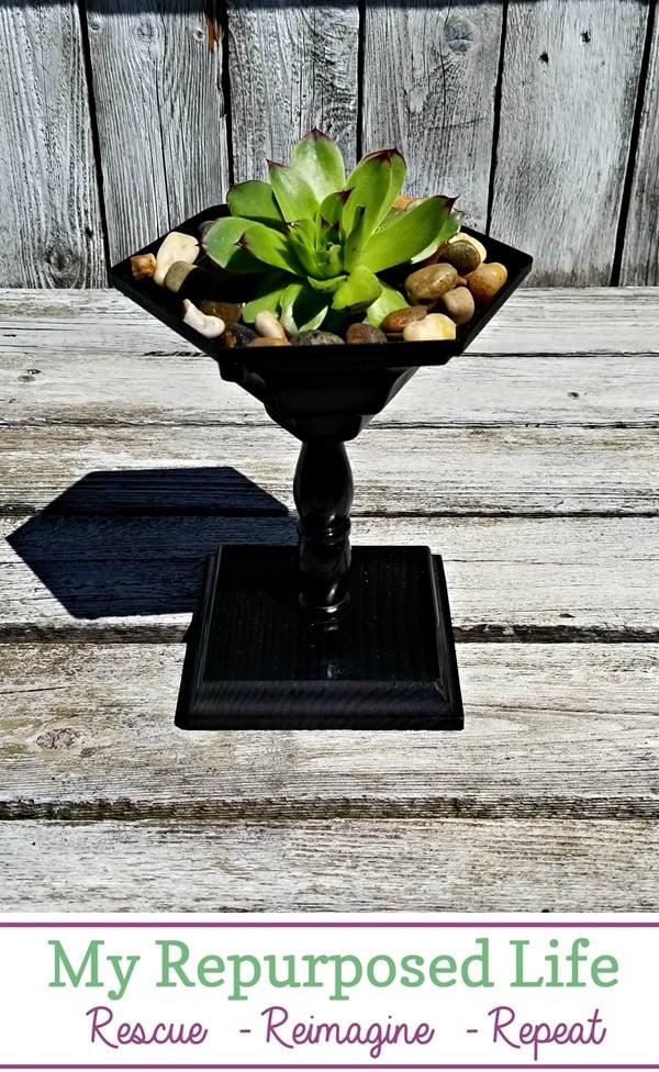 small pedestal succulent planter MyRepurposedLife.com