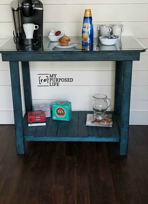 glass top pallet table coffee bar MyRepurposedLife.com