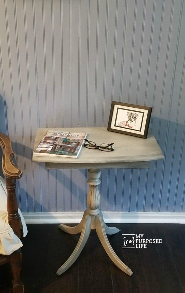 small four legged side table redo MyRepurposedLife.com