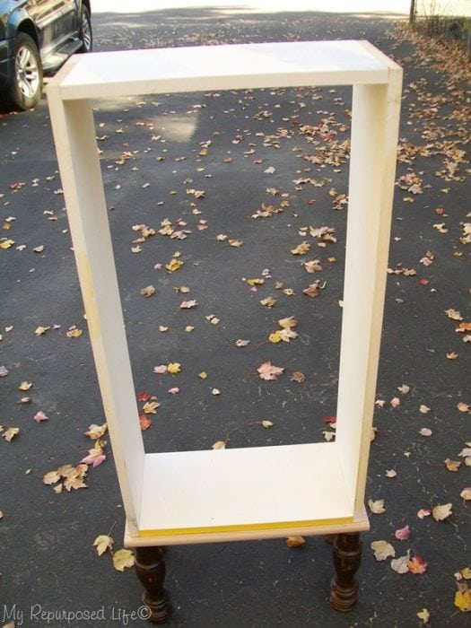 repurposed window cabinet box