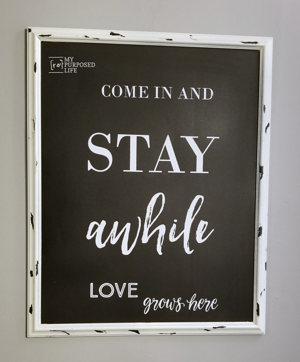 extra large white chippy chalkboard stay awhile MyRepurposedLife.com