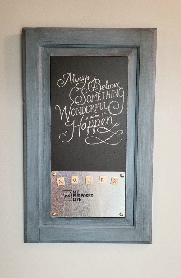 magnetic chalkboard memo repurposed cabinet door MyRepurposeLife