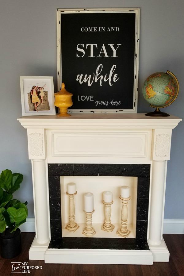 faux fireplace makeover MyRepurposedLife