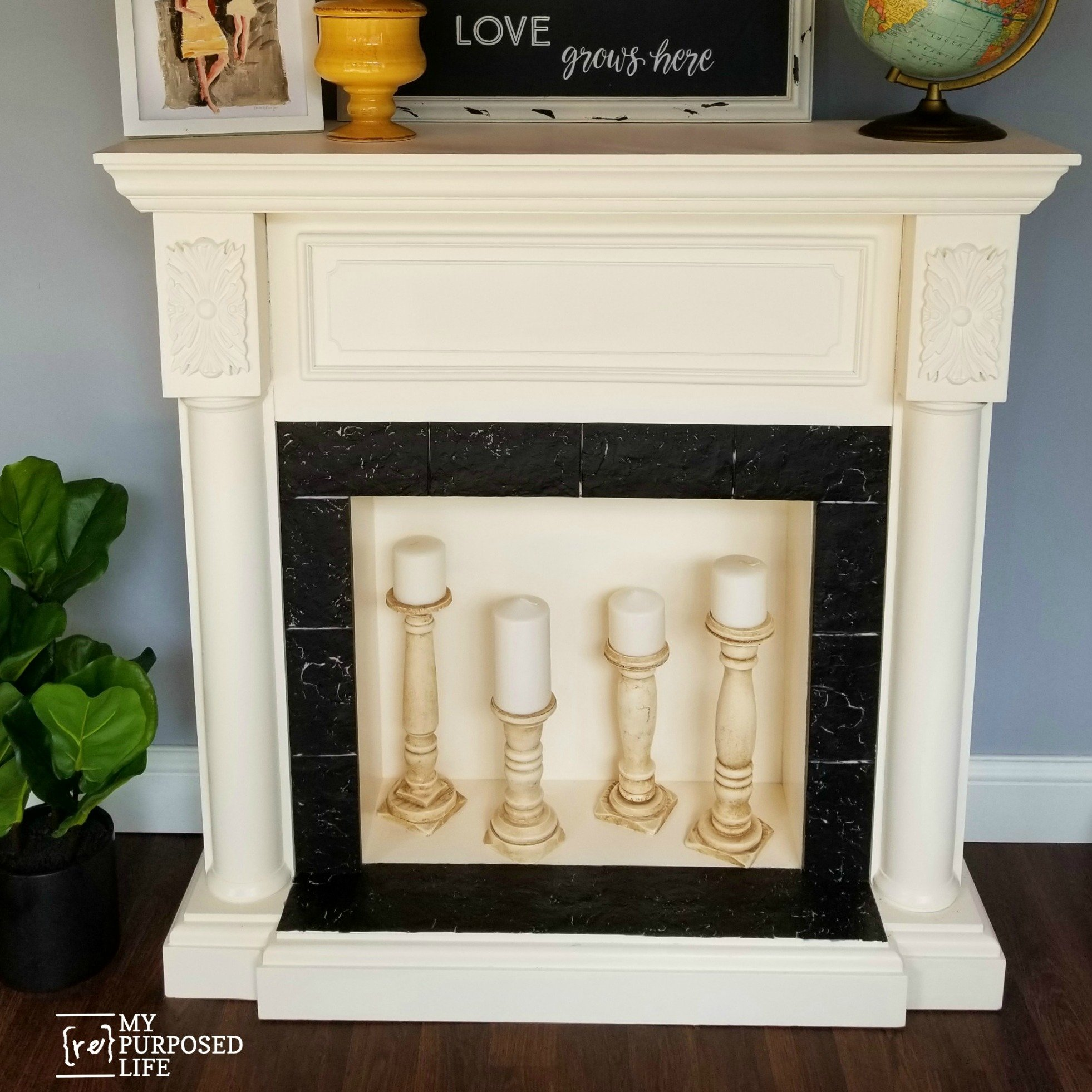 Faux Fireplace Mantel Makeover My Repurposed Life Rescue Re Imagine Repeat