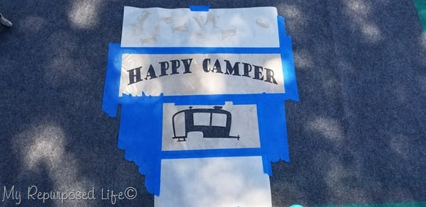 happy camper stenciled rug