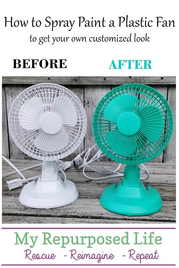 how to spray paint a plastic fan MyRepurposedLife
