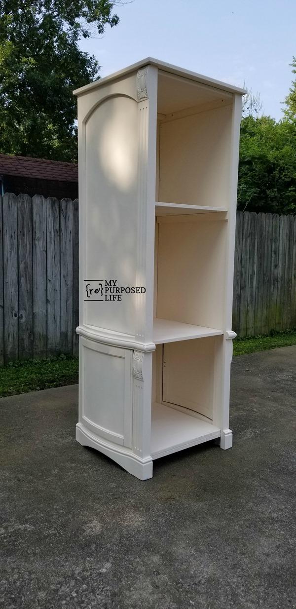off white book shelf made from reclaimed armoire cabinet doors MyRepurposedLife