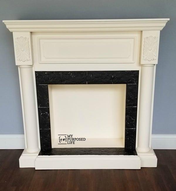 painted faux fireplace mantel MyRepurposedLife
