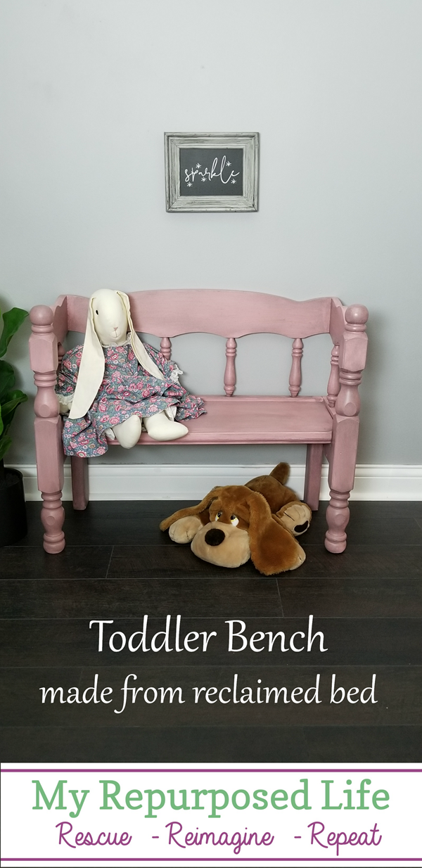 pink toddler bench made from reclaimed bed MyRepurposedLife