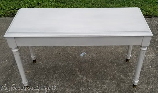 smoked glaze off white piano bench redo