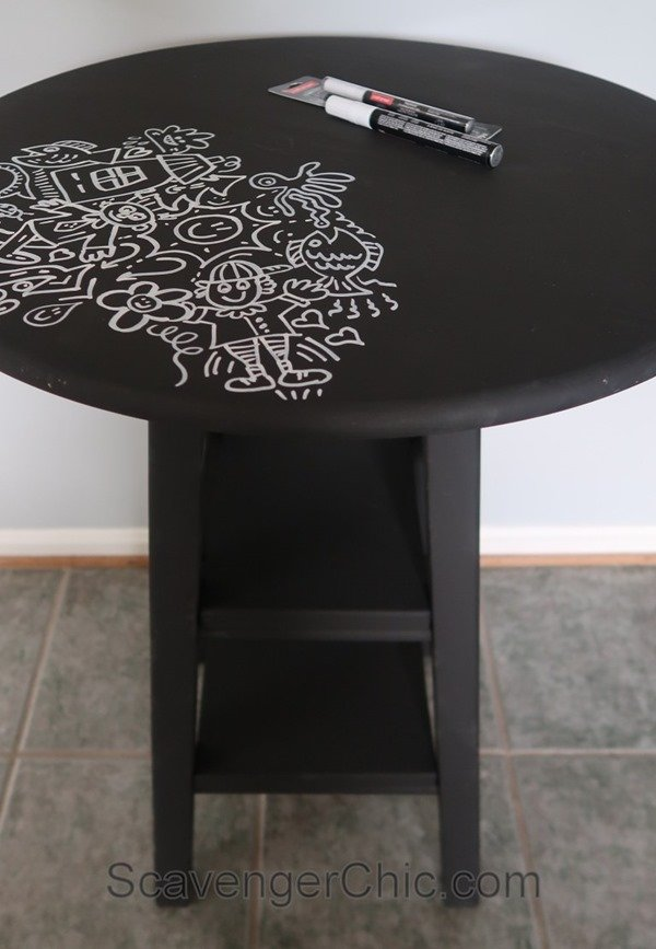 easy upcycled doodle table