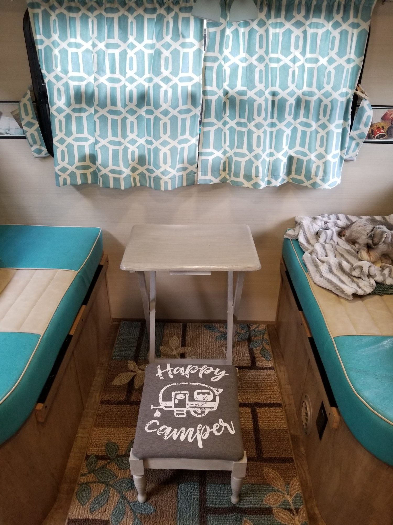 small camper tv table and stool