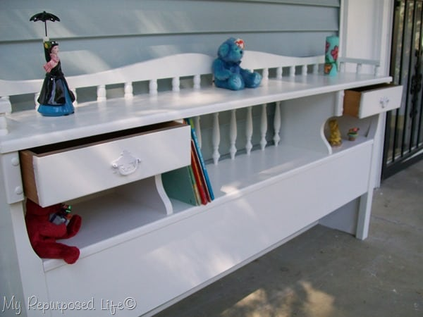 headboard into kids book case