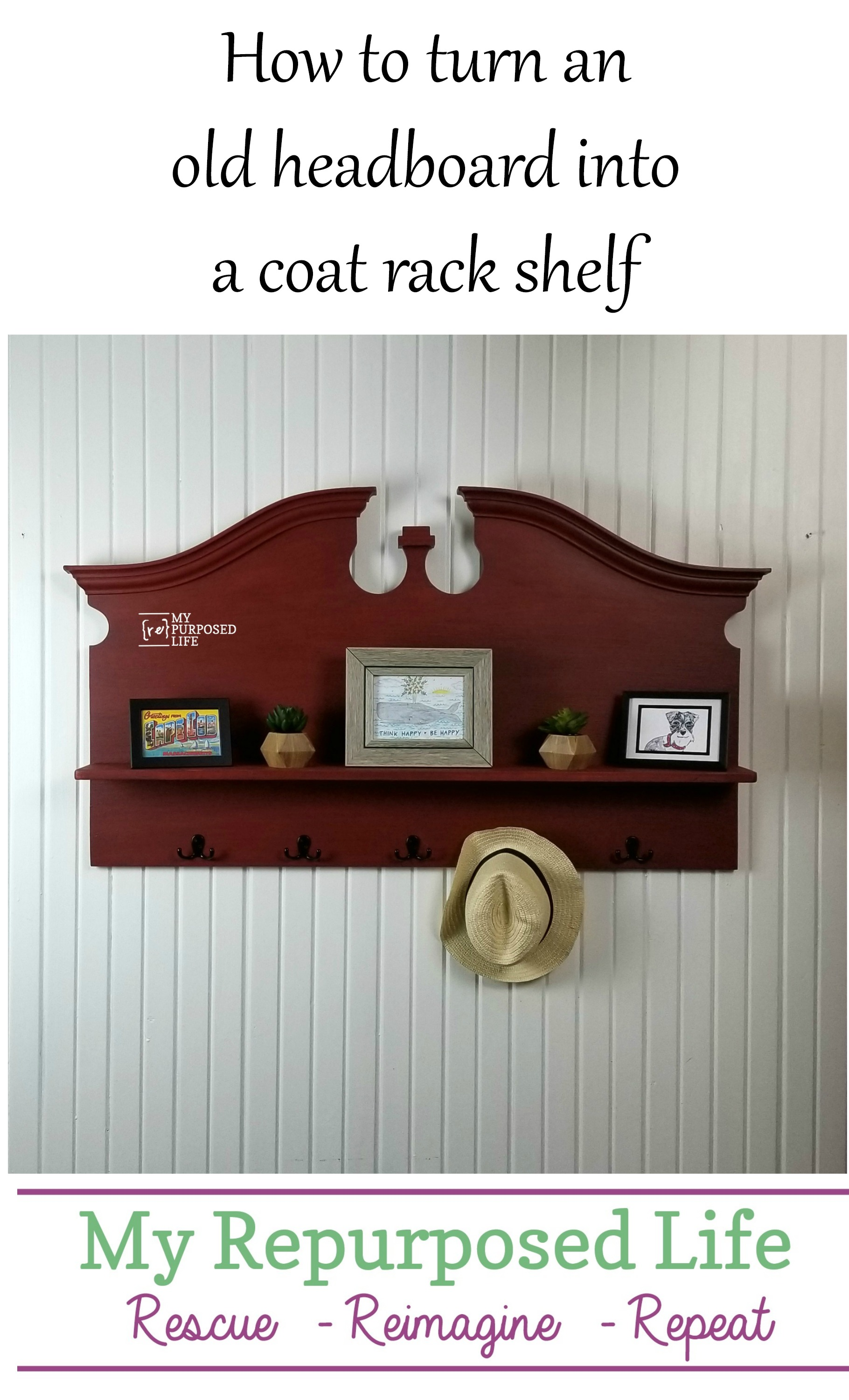 This repurposed headboard shelf coat rack is easy to make following the step by step directions included here. Tips on adding the shelf and how to add coat hooks. #MyRepurposedLife #repurposed #headboard #coatrack #shelf via @repurposedlife