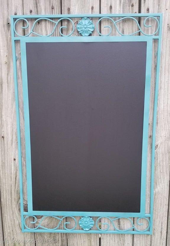 mirror frame turned into a fun chalkboard
