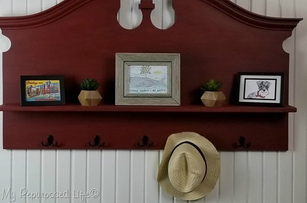 postcards as artwork headboard shelf coat rack