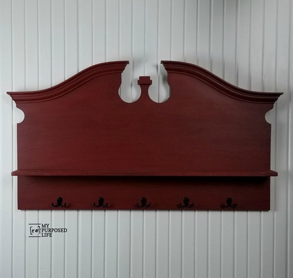 red headboard shelf coat rack MyRepurposedLife