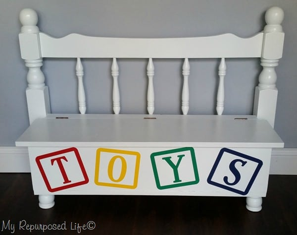 repurposed bunk bed into toy box