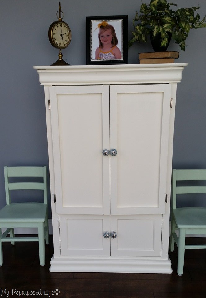 small armoire made into kids art center