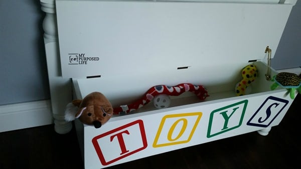 toy box made from twin bed MyRepurposedLife.com
