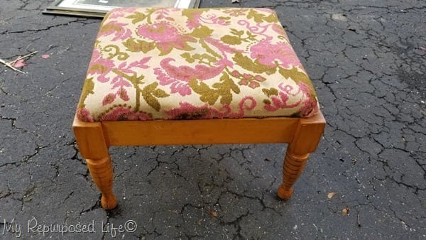 upholstered vintage small footstool