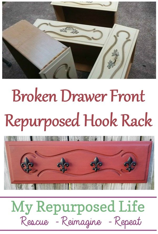 How to use a broken drawer front to make a fun and easy hook rack. Step by step directions to make your own drawer front hook rack. #MyRepurposedLife #repurposed #upcycle #furniture #drawerfront #hookrack via @repurposedlife