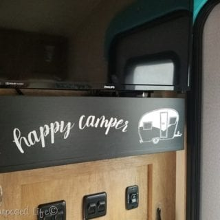 Wooden Valance Box to hide Cord Clutter in the Camper