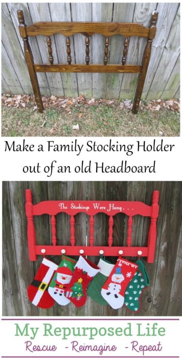 Easy DIY headboard project. Turn an old headboard into a Christmas Stocking holder for the whole family! Step by step directions. Pin this for later so you won't forget. #MyRepurposedLife #Repurposed #furniture #diy #Christmas #stockings #kids #family #home #decor via @repurposedlife