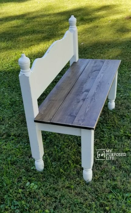Twin Bed Bench How to make a small bench from a headboard. This is perfect for your patio, entry way, or even for the end of your bed for shoes and socks. #MyRepurposedLife #repurposed #furniture #bench #headboard #diy #tutorial via @repurposedlife
