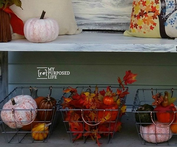 Have you used dollar store pumpkins in your Fall decor? Have you painted them? You will love how rustic they look. #MyRepurposedLife #repurposed #upcycled #dollarstorepumpkins #painted via @repurposedlife