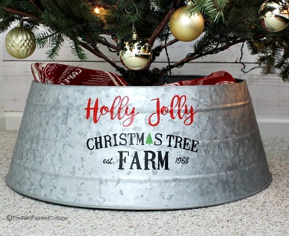 custom painted Christmas tree collar