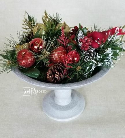 painted glazed stippled wooden pedestal bowl MyRepurposedLife.com