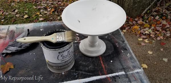 white painted pedestal bowl
