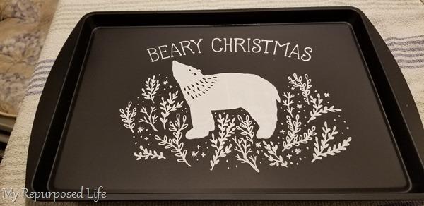 beary Christmas chalkboard cookie sheet