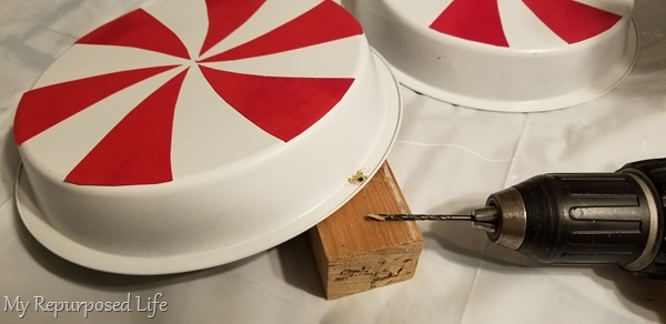 drill hole in cake pans