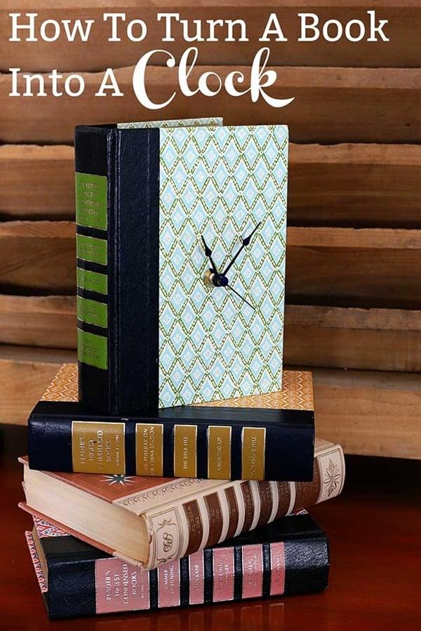 repurposed old books into clocks