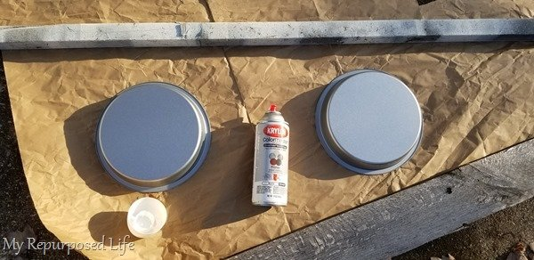 spray cakes pans with white paint