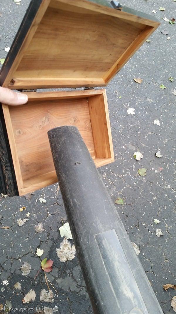 blow away sawdust