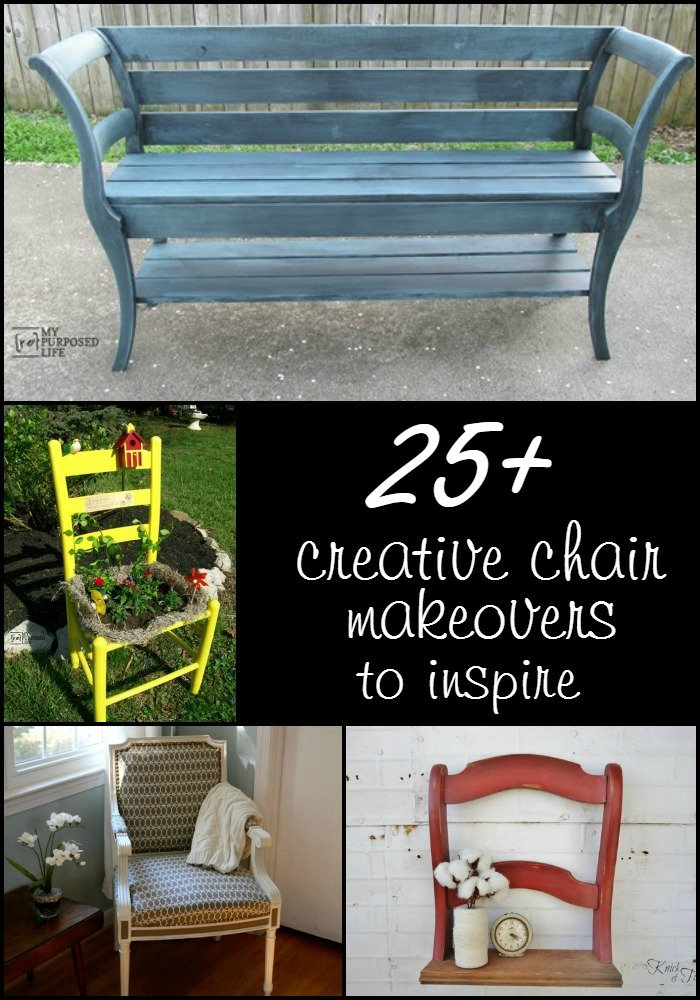Project ideas for old chairs using paint stain, upholstery and saws. All great ways to give them new life. Great ideas to inspire you. #MyRepurposedLife #Repurposed #chairs #diy #projects via @repurposedlife