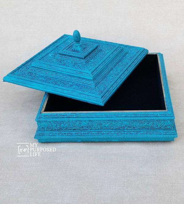 glazed blue large trinket box MyRepurposedLife