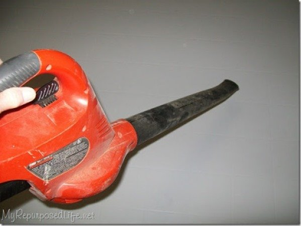 using a leaf blower indoors