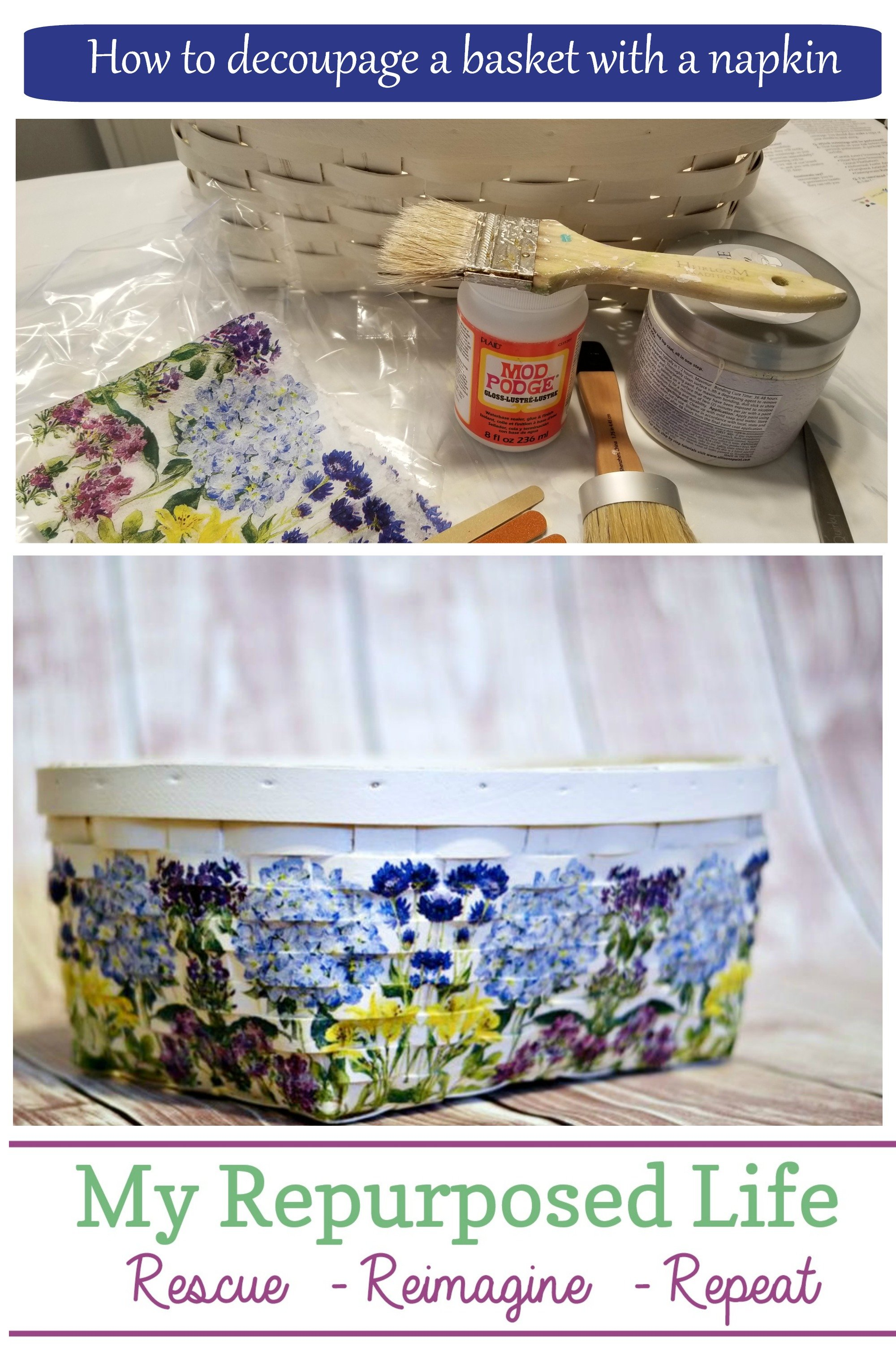 Step by step directions on how to decoupage a thrift store basket with hydrangea beverage napkins. I'm not sure why I waited so long to do this project. I have a lot of napkins left over, what should I do next? via @repurposedlife
